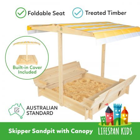 Lifespan Kids Skipper Sand Pit with Orange Canopy