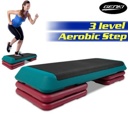 Professional Aerobic gym Workout Fitness 4 Block Bench Step - Green & Pink