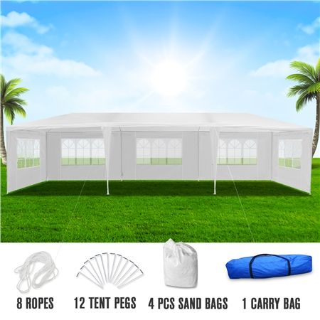 3x9m White Walled Waterproof Outdoor Gazebo