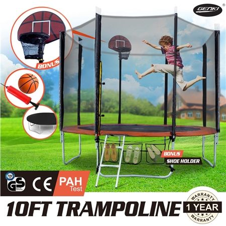 GENKI  10FT Trampoline FREE Basketball Set and Safety Net with Spring Pad Cover