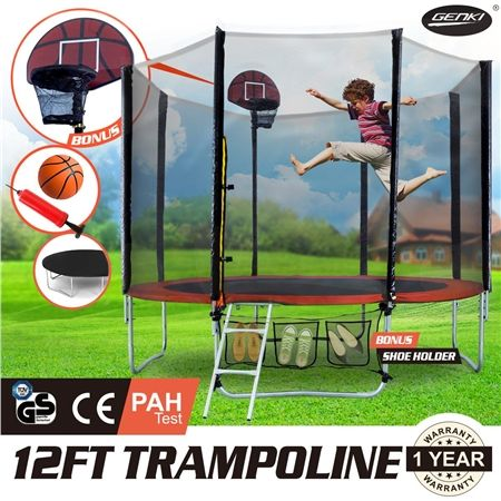GENKI  12FT Trampoline FREE Basketball Set and Safety Net with Spring Pad Cover