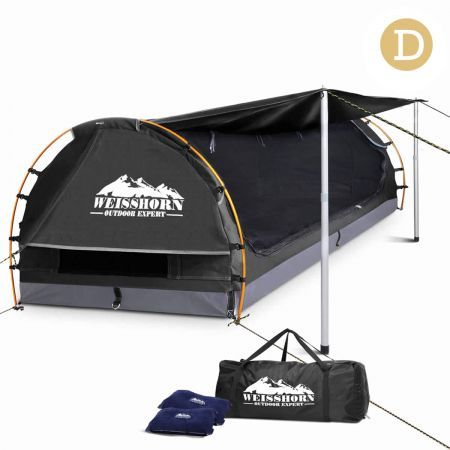 Weisshorn Double Camping Canvas Swag with Mattress and Air Pillow - Grey