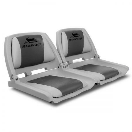 Set of 2 Swivel Folding Marine Boat Seats - Grey Charcoal