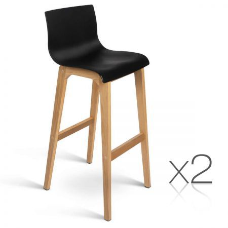 Set of 2 High Seat Back Barstools - Black