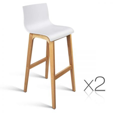 Set of 2 High Seat Back Barstools - White