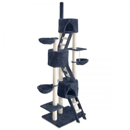 Multi Level Cat Scratching Poles Tree with Ladder - Dark Grey