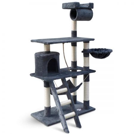 Cat Scratching Post Tree House Condo 141cm - Grey