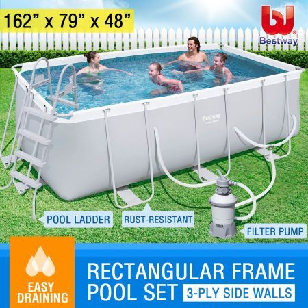 Bestway above ground rectangular swimming pool crazy sales for Cheap above ground pool packages