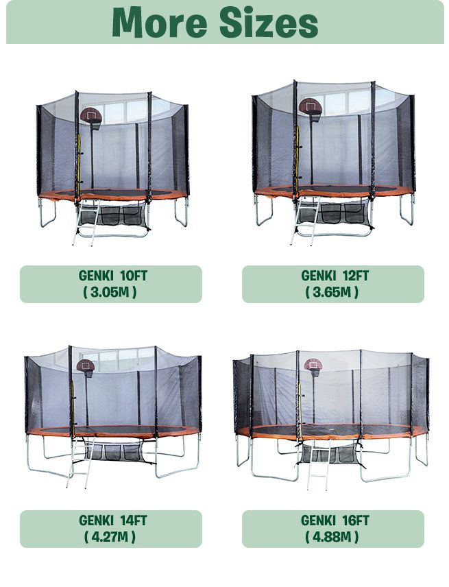 Genki 12ft Trampoline Free Basketball Set And Safety Net