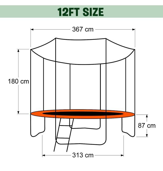 Genki 12ft Trampoline Free Basketball Set And Safety Net