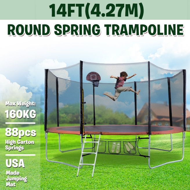 Genki 14ft Trampoline Free Basketball Set And Safety Net