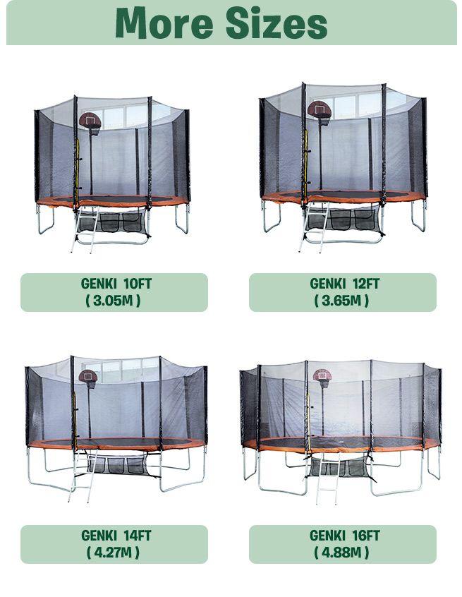 Genki 14ft Trampoline Free Basketball Set And Safety Net