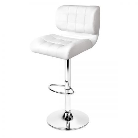 Set of 2 Leather Bar Stools - White