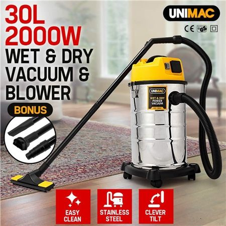 Unimac 2000W 30L Wet & Dry Drywall Vacuum Cleaner and Blower