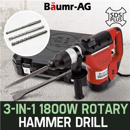 Baumr-AG 1800W Demolition Rotary Jackhammer 3-in-1 SDS Plus Drill BMJK-150