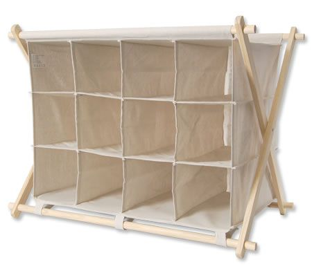 Cube Design Shoe Storage Unit with Canvas Fabric - Holds 12 Pairs