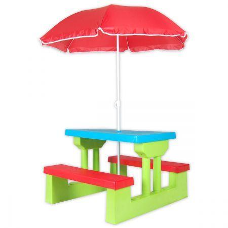 Kids picnic table outdoor multi colour set with umbrella - Children s picnic table with umbrella ...