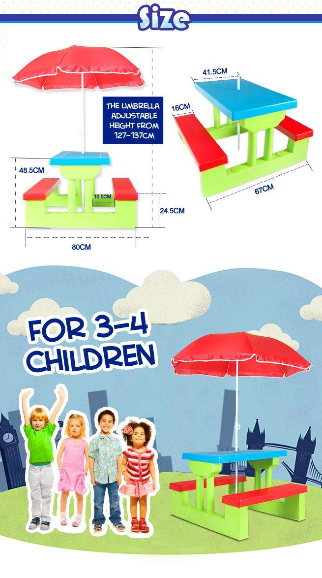 Kids Picnic Table Outdoor Multi-Colour Set with Umbrella ...