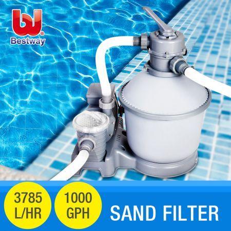 kortingscode nieuw ontwerp gedetailleerde foto's Bestway Flowclear Sand Filter Pump 1,000gal