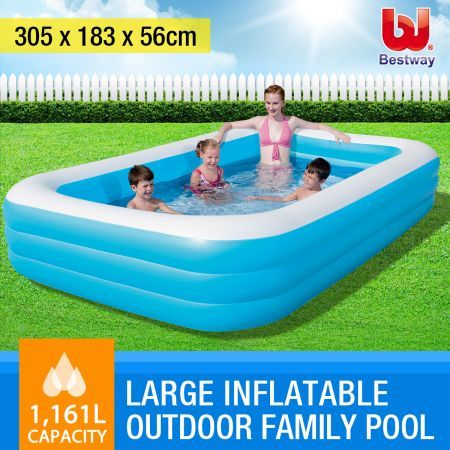 BESTWAY Blue Rectangular Large Inflatable Outdoor Family Pool