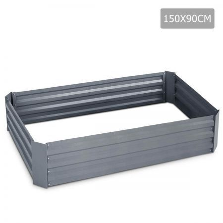 Galvanised Raised Garden Bed - 150 x 90 x 30cm - Grey