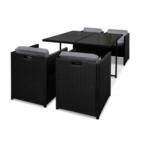 Rio Dining 5 Seater Set - Black and White