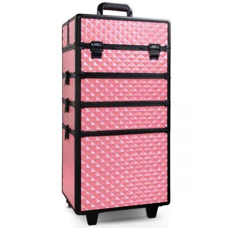 7 in 1 Portable Beauty Make up Cosmetic Trolley Case - Pink