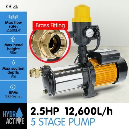 5 Stage High Pressure Auto Water Pump - 1800W