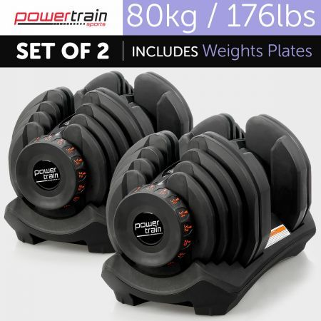 Powertrain 80kg Adjustable Dumbbell Set