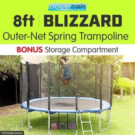 Powertrain Blizzard 8ft Trampoline with Net - Blue
