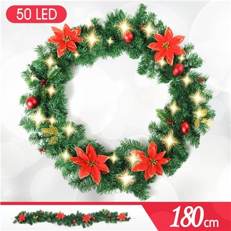 180cm Christmas Traditional Wreath Door Decoration with 50 LED Lights