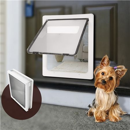 Extra Large 2 Way Lockable Pet Dog Cat Brushy Flap Door-White