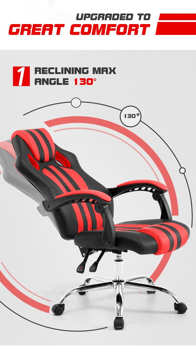 Reclining Office Computer Chair Black And Red Crazy Sales