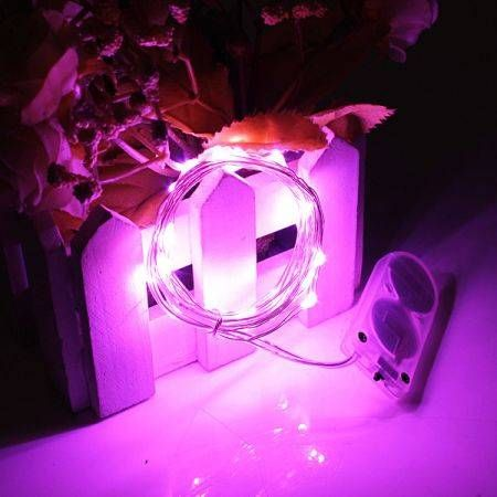 2M 20 LED Battery Operated Fairy Lights Christmas Wedding Decoration-Pink