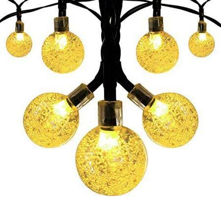 String Lights Outdoor 20LED Crystal Ball Christmas Globe Lights for Garden Path, Party, Bedroom Decoration-Warm White