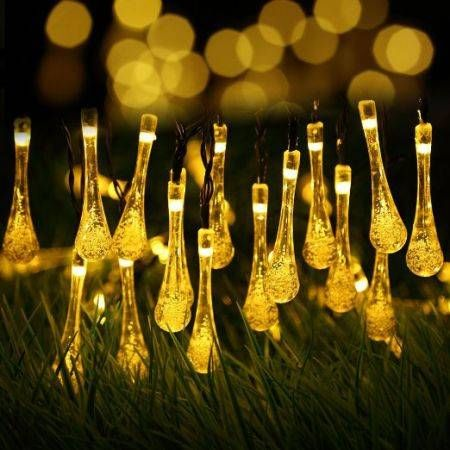 Solar Outdoor String Lights 20LED Water Drop String Fairy Waterproof Christmas Lights for Garden,Home, Christmas Tree, Parties-Warm White