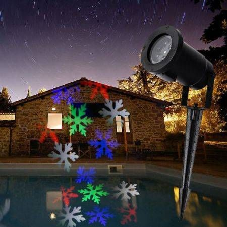 Waterproof Automatically LED Moving Snowflakes Spotlight Lamp Snowflakes LED Projection Christmas Decoration Light- RGB