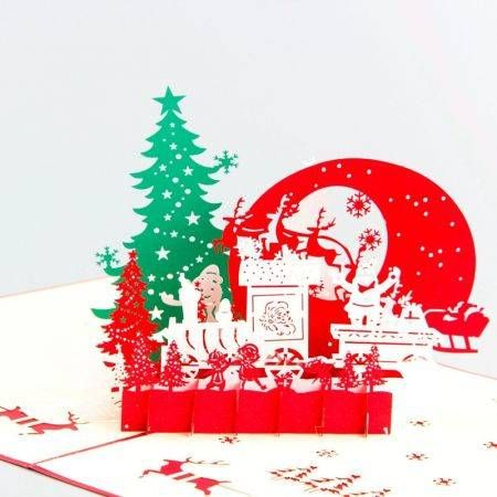 5pcs 3D Hollow Paper Carving Christmas Eve Christmas Card