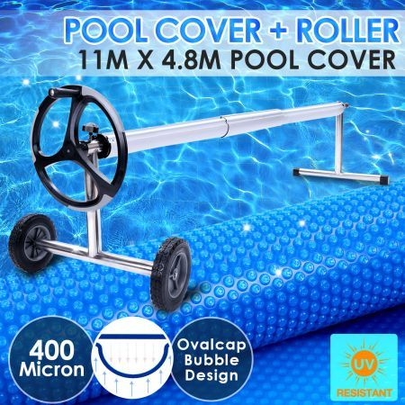 400 Micron Solar Swimming Pool Cover Blanket 11m X 4 8m Roller Wheel Crazy Sales