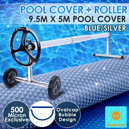 500 Micron Solar Swimming Pool Cover Blue/Silver 9.5x5M+Roller Wheel