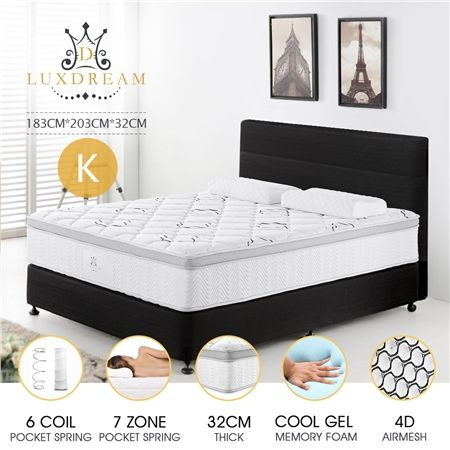 32cm King Size 7 Zone Coo Gel Memory Foam Euro Top Mattress