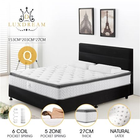 27cm Queen Size Latex Pillow Top Pocket Spring Mattress with Even Weight Distribution Technology