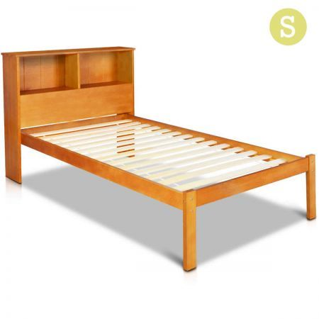 single pine wood bed frame with storage shelf crazy sales. Black Bedroom Furniture Sets. Home Design Ideas