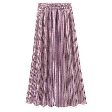 Women Pleated Solid Color Skirt