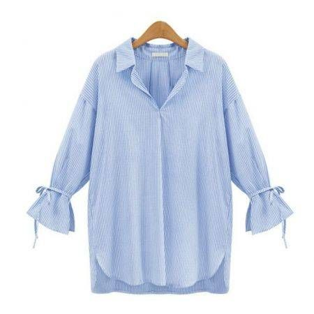 Women V-neck Bell Sleeve Casual Blouse