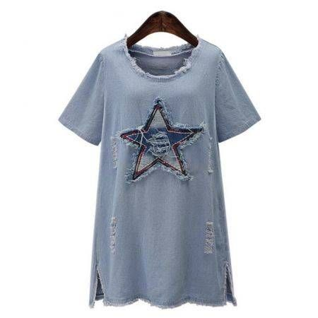 Women Star Patch Loose Denim Dress