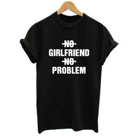 Women NO BOYFRIEND NO PROBLEM Letter Print Punk T-shirt