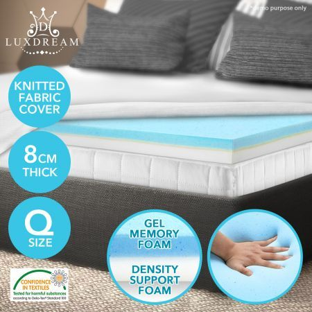 8 CM Queen Cool Gel Memory Foam Mattress Topper underlay Cover