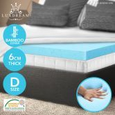Double Cool Gel Memory Foam Mattress Topper 6 CM Visco Elastic Underlay Cover