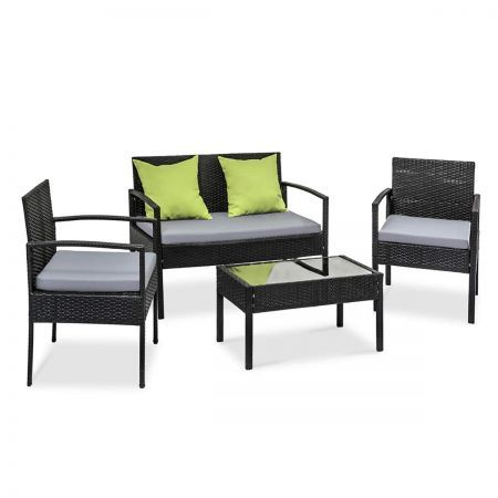 4 Seater Outdoor Patio Set Garden Wicker Furniture Lounge Table and 3 Chairs